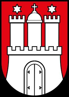 Wappen von Hamburg mit der Hammaburg