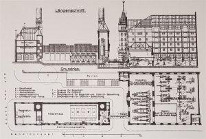 Gebäudeplan des Kesselhaus und Maschinenzentral-Station (rechts)